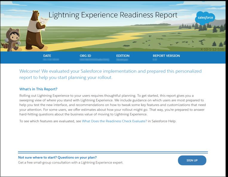 Imagem da primeira página do relatório de prontidão do Lightning Experience