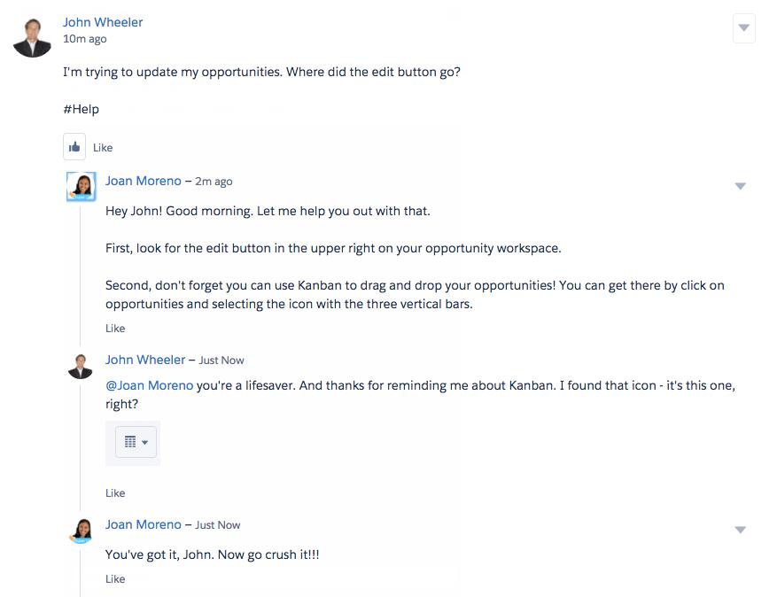 Un super utilisateur aide un employé sur Chatter.
