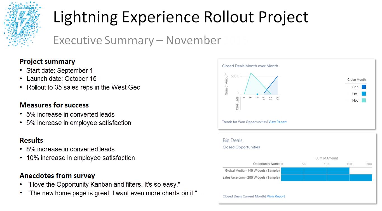 Lightning Experience ロールアウト戦略のエグゼクティブサマリーの例。