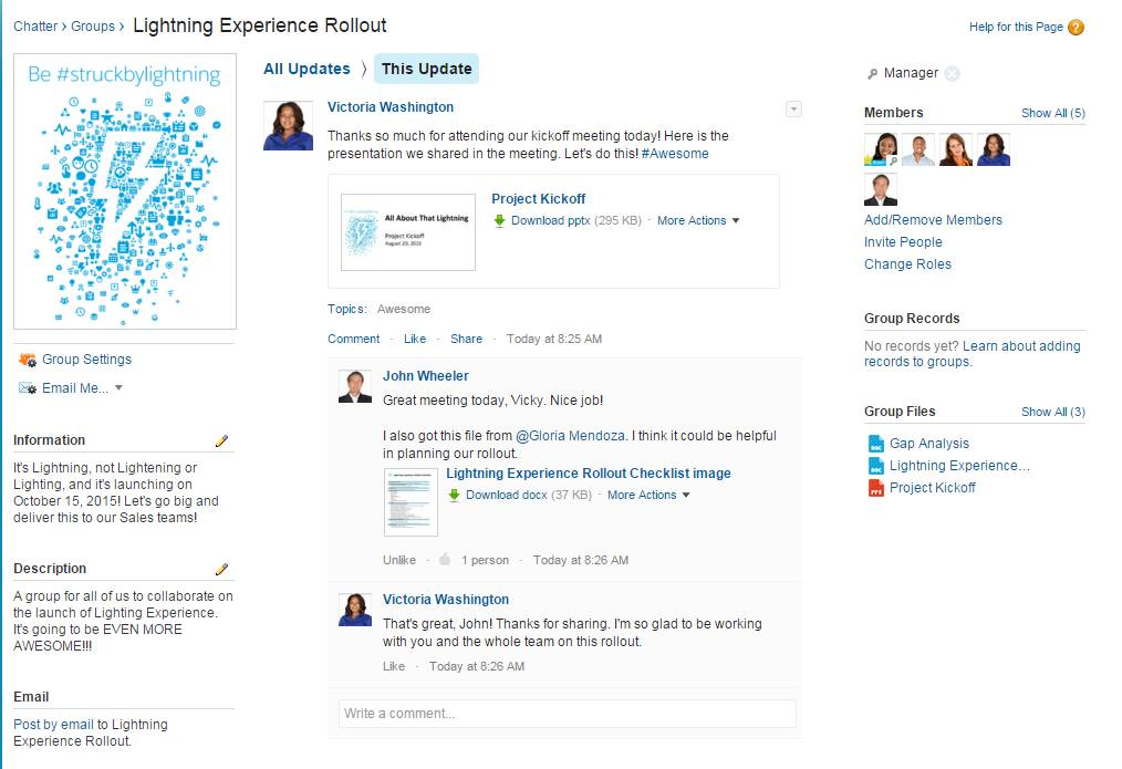 A Chatter group for the Lightning Experience rollout team.