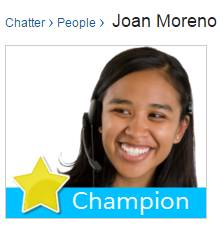 A super user, recognized by a custom icon on her Chatter picture.
