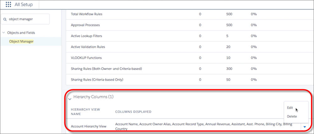 Customize hierarchy columns for account hierarchies