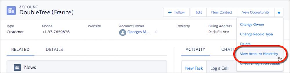 Accounthierarchie im Dropdown-Menü 'Aktionen'