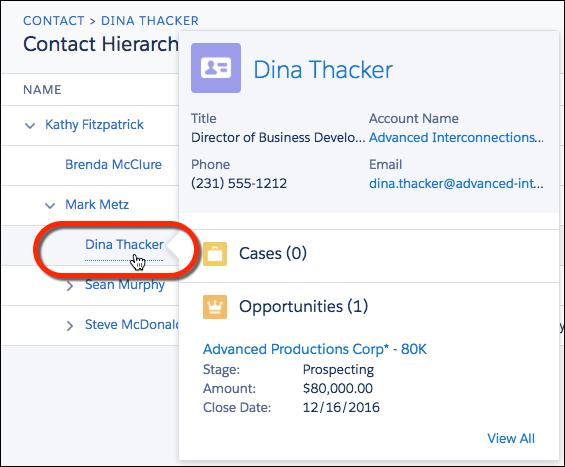 Mauszeiger über dem Namen eines Kontakts bewegen, um weitere Details einzublenden