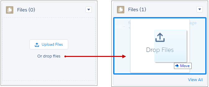 Ziehen und Ablegen von Dateien in der Themenliste 'Dateien'