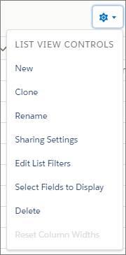 Optionen für Listenansichten auf der Objektstartseite