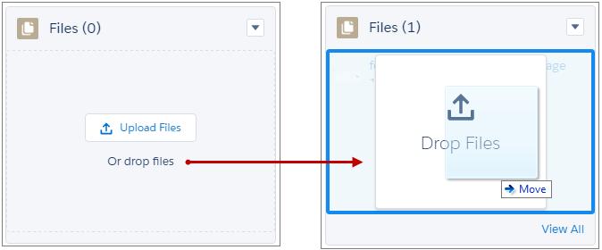 Arrastrar y soltar archivos en la lista relacionada Archivos