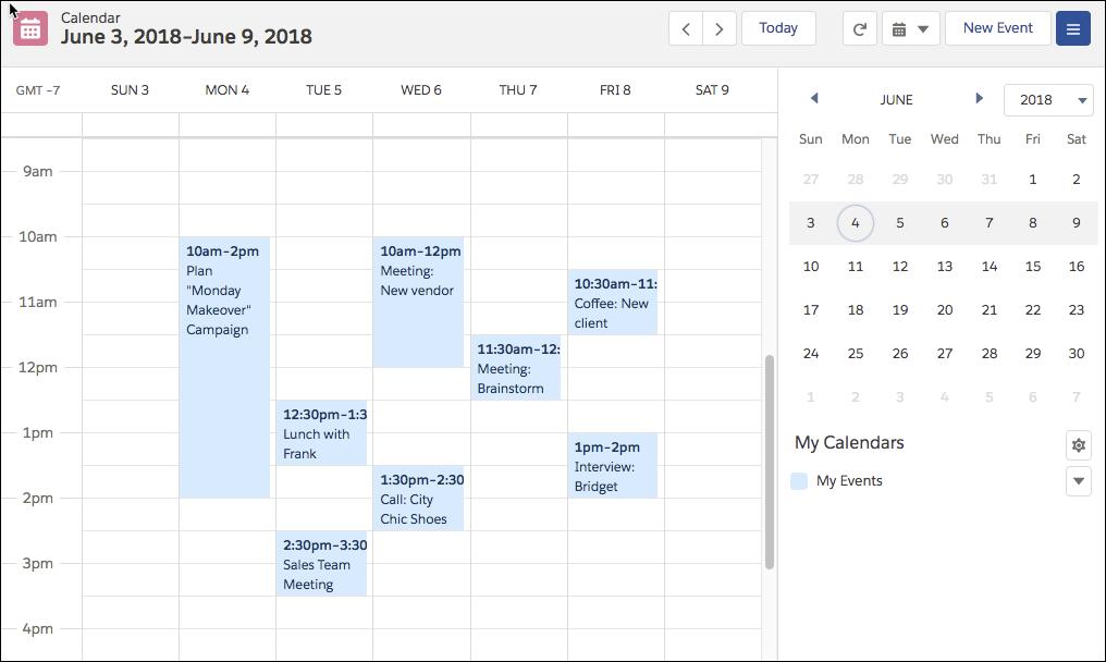 Vue hebdomadaire du calendrier