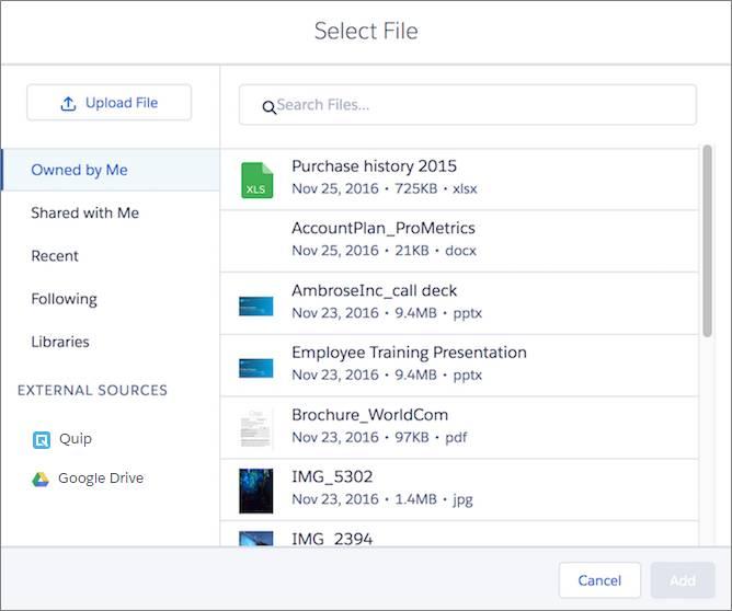 Sélecteur de Salesforce Files