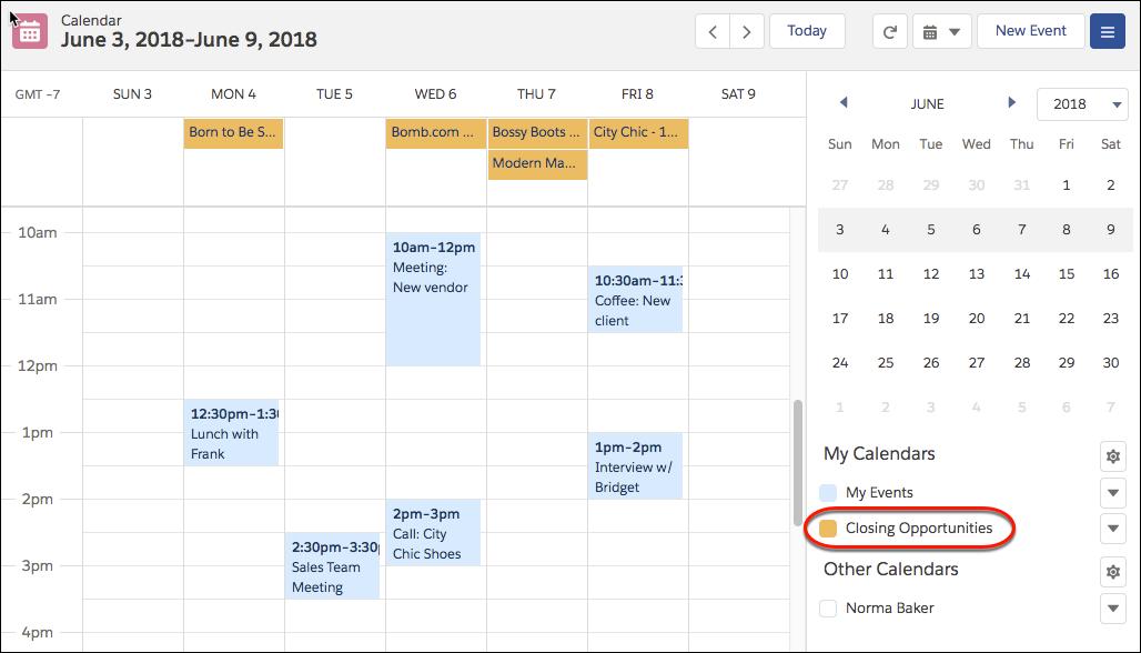 任意のオブジェクトからのカレンダーの作成