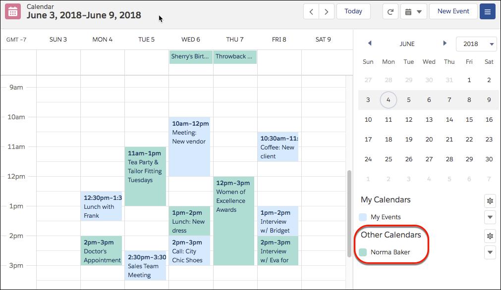 同僚のカレンダーを表示
