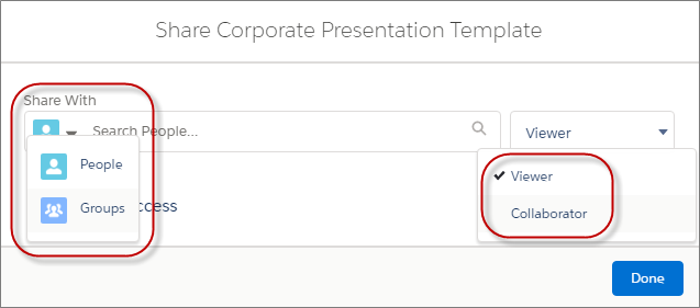 Salesforce Files 共有ダイアログ