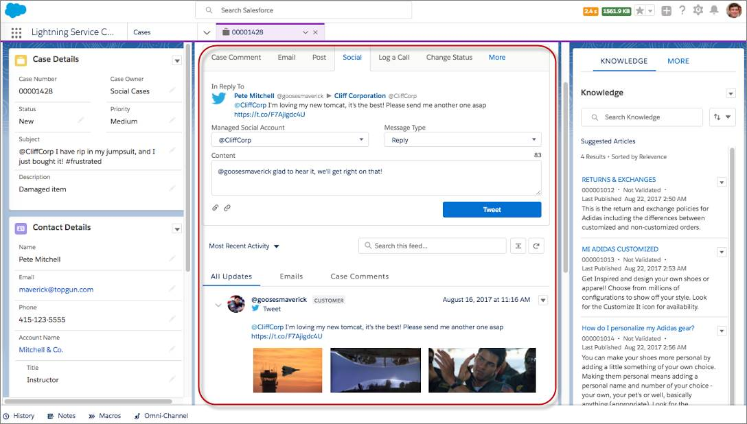 Servicio al cliente de redes sociales en Lightning Experience