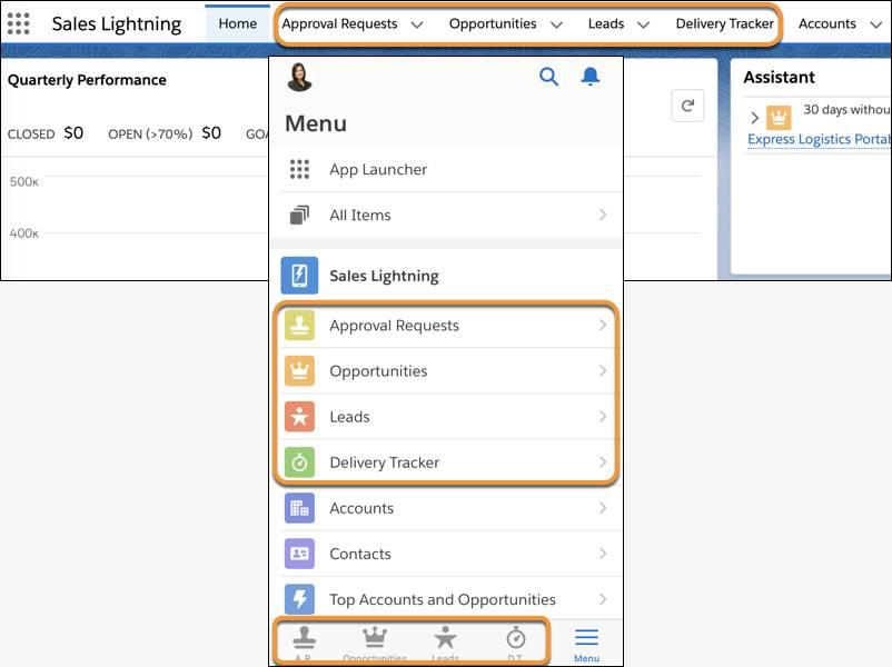 Sales Lightning no desktop e em dispositivos móveis