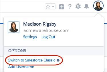 Basculer vers Salesforce Classic