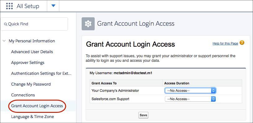 Grant account login access