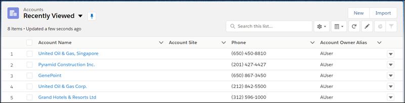 Controles y contenido de vistas de lista