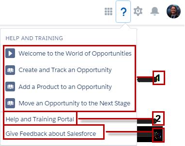 Menú de ayuda, mostrando la Ayuda de Salesforce para una página específica.