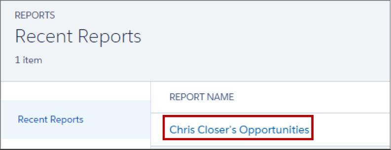 Lista de relatórios recentes que mostra um relatório chamado Oportunidades de Chris Closer.