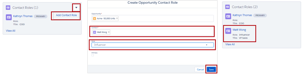 Adding a contact role from the Contact Roles related list.
