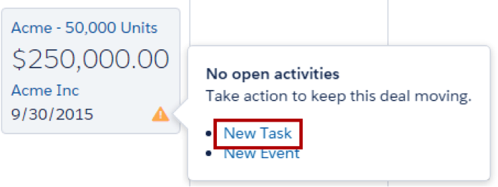 Hovering over the alert icon, showing options to create a new task or new event.