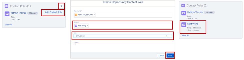Incorporación de una función de contacto desde la lista relacionada Funciones de contacto.
