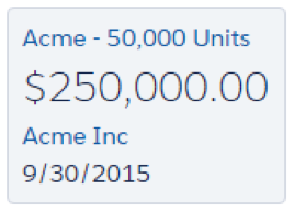 Tarjeta de oportunidad Acme - 50.000 Unidades con un icono de alerta.
