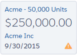 Tarjeta de la oportunidad Acme - 50.000 unidades con un icono de alerta.