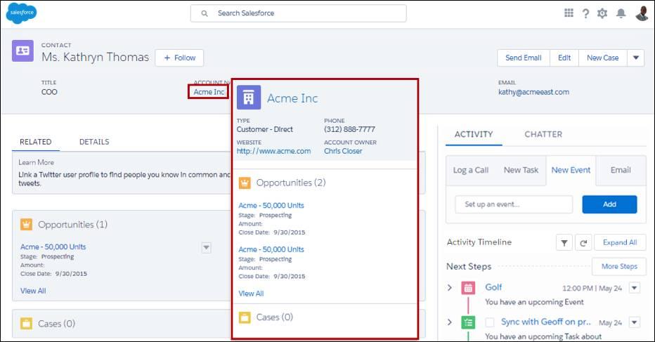 Tarjeta de búsqueda ampliada, mostrando un resumen de los detalles de una cuenta desde un registro de contacto.