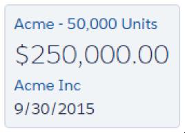 アラートアイコンのない Acme - 50,0000 Units 商談カード。