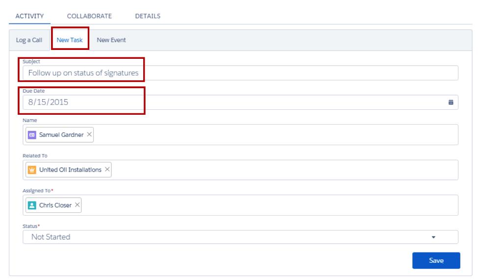 商談の [活動] タブ。[新規アクション] をクリックし、件名「Follow up on status of signatures」を追加し、[期日] が設定されている。