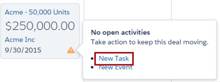 Mouse passando sobre o ícone de alerta e mostrando opções para criar uma nova tarefa ou novo evento.