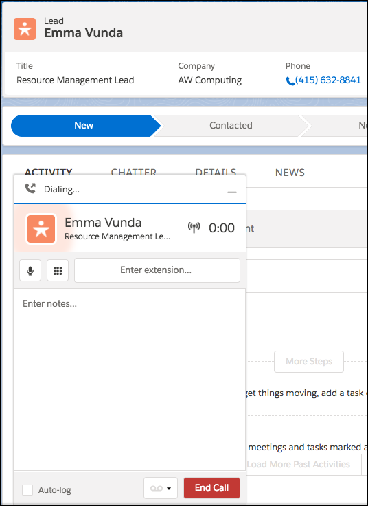 Active call with associated lead record
