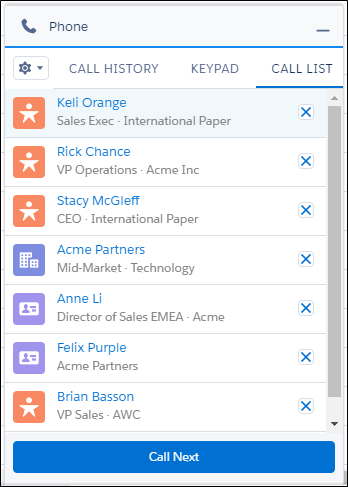Call list with leads, accounts, and contacts