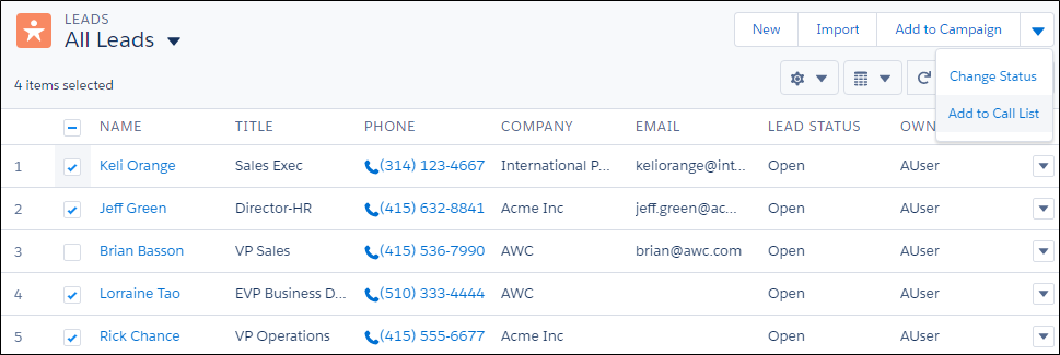 Leads selected from list view with Add to Call List option selected