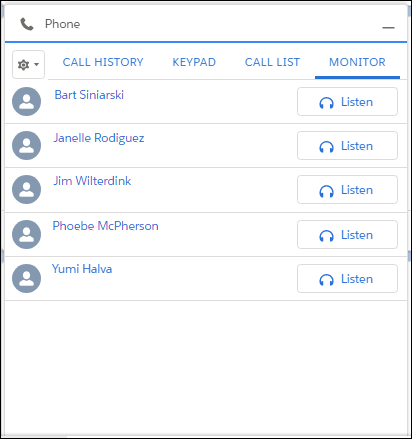 Monitor tab in the call panel