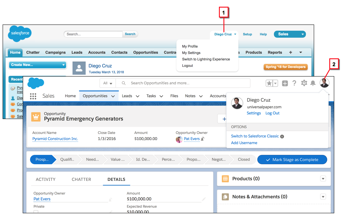 Comparing a user's profile menu in Salesforce Classic and Lightning Experience
