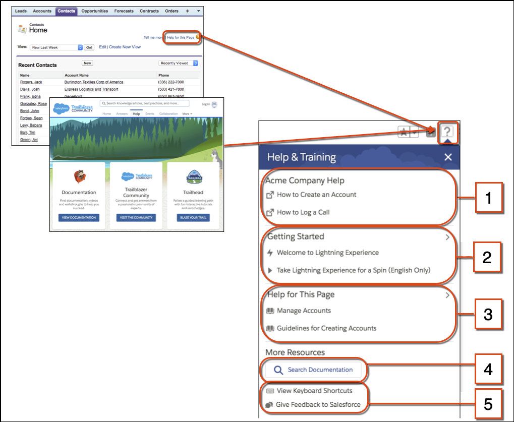 Comparing help in Salesforce Classic with the Help Menu in Lightning Experience