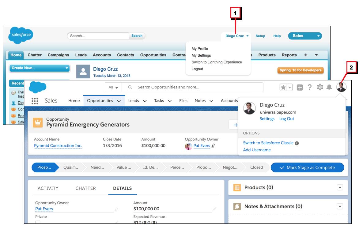 Comparação do menu de perfil de um usuário no Salesforce Classic e no Lightning Experience