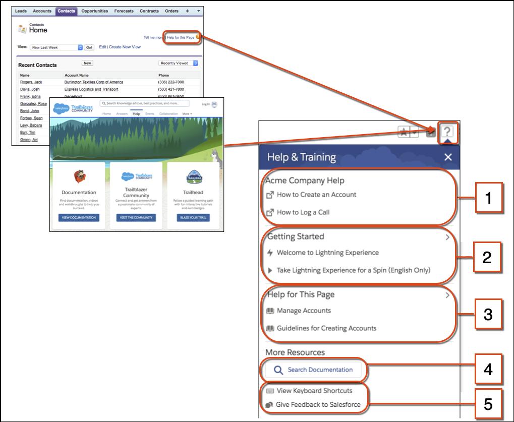 Comparação da ajuda no Salesforce Classic com o menu Ajuda no Lightning Experience