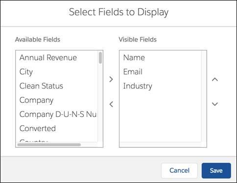 Auswahl der Felder, in die einer Listenansicht angezeigt werden sollen