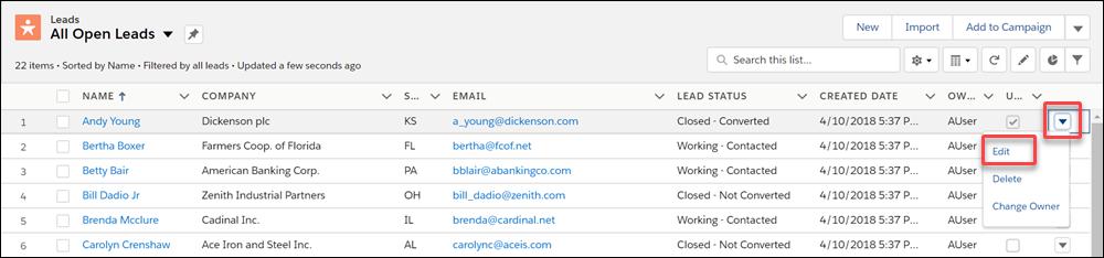 Editar um registro em um modo de exibição de lista no menu de ação de um registro