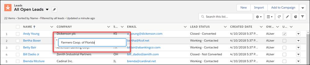 Editar campos inline em modos de exibição de lista no Salesforce Classic