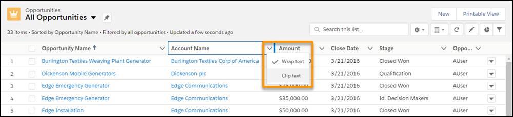 Selecionar Encapsular texto ou Recortar texto no início de uma coluna do modo de exibição de lista