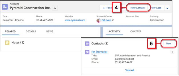Create a contact that's related to an account from either the account's action menu or the Contacts related list on the account
