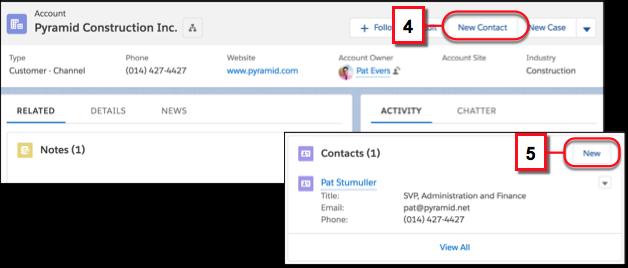 Crear un contacto que está relacionado con una cuenta desde el menú de acción de la cuenta o la lista relacionada Contactos en la cuenta