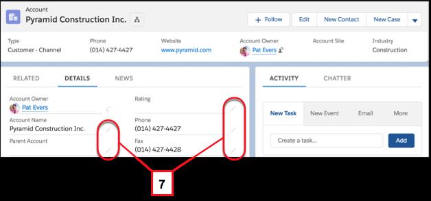 Modificar campos individuales en un registro utilizando el icono de modificación en línea
