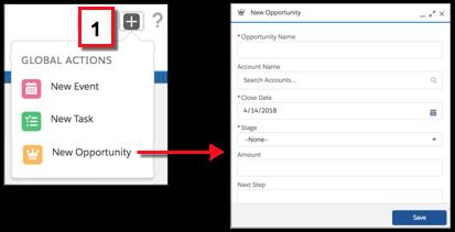 Criar um registro nas ações rápidas de criação no menu Ações globais