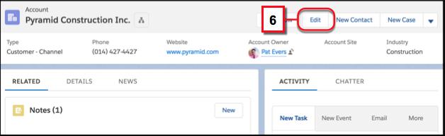 Editar todos os campos de um registro clicando em Editar no menu de ação do registro