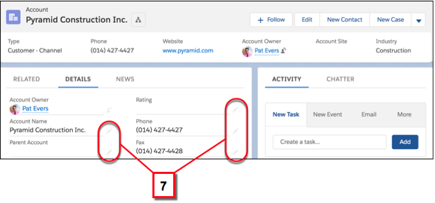 Editar campos individuais em um registro usando o ícone de edição inline